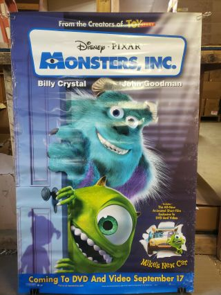 Monsters Inc 2001 26x40 Rolled Dvd Promotional Poster