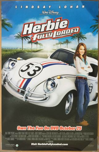 Herbie Fully Loaded Dvd Movie Poster 1 Sided 26x40 Lindsay Lohan