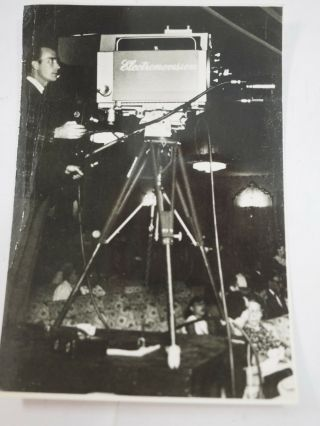 "Filming With An Electronovision Television Broadcast Camera B&w Photo 3.  5 "" X 5 """