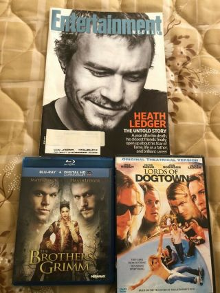 Heath Ledger Entertainment Weekly 1/23/09,  Brothers Grimm Lords Of Dogtown Dvds