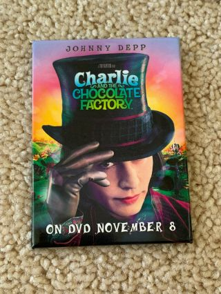 Johnny Depp Charlie And The Chocolate Factory Promo Pin Button On Dvd Nov.  8