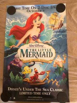 The Little Mermaid Disney Dvd Movie Poster 26 X 38