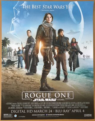 Rogue One A Star Wars Story Dvd Movie Poster 1 Sided Mini 22x28