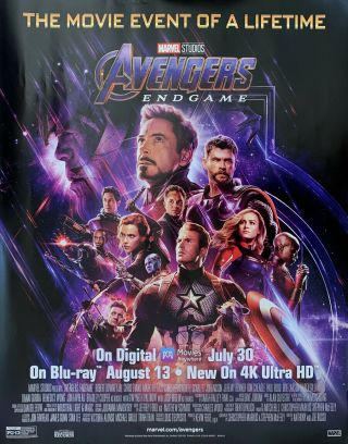 Avengers Endgame Dvd Movie Poster 1 Sided Mini 22x28 Marvel