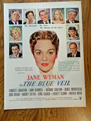 1951 Movie Ad The Blue Veil Jane Wyman Charles Laughton Joan Blondell Carlson