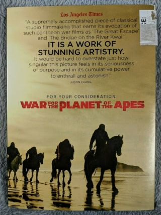 War For The Planet Of The Apes Fyc Dvd Awards Screener Rare Vg,