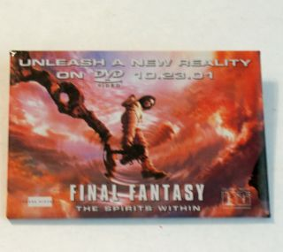 Final Fantasy Button Dvd Release Date Promo 10 - 23 - 01 Pinback Badge Pin