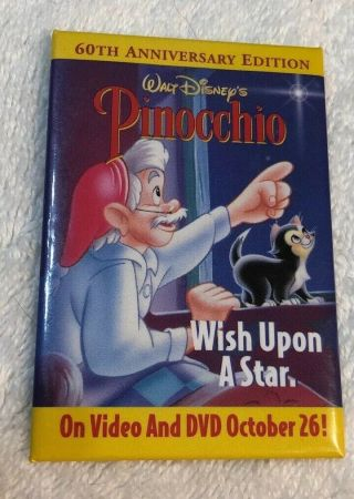 Vintage Pinocchio Promo 60th Anniversary Edition Dvd Pin Back Button Walt Disney