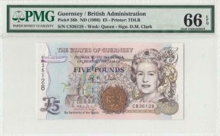 """1996 The States Of Guernsey 5 Pounds """" Clark """" ( (pmg 66 Epq))"""