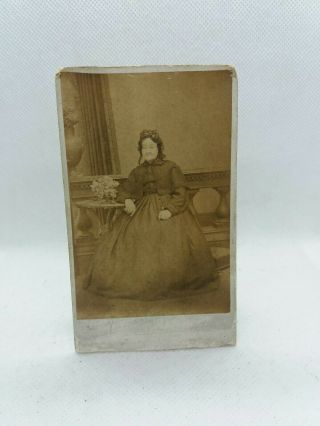 Antique Photo 72 Year Old Victorian Lady In Mourning Clothes Dated 1873 110x62mm