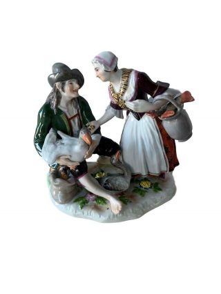 Antique Meissen Porcelain Group Of Fish And Goose Seller