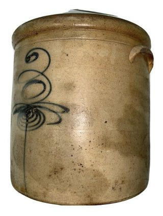 Antique 3 - Gallon Stoneware Crock Marked With Cobalt 3 Bee Sting Design