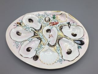 Antique Union Porcelain (upw) Large Clam Shape Oyster Plate C 19th Century