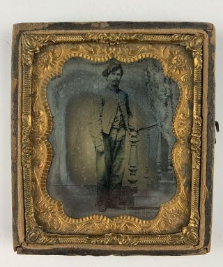 Rare 6th Plate Ruby Ambrotype Civil War Soldier Unusual Uniform Cap Hand - Tinted