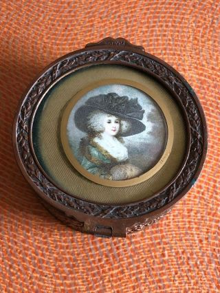 Antique 19th C French Gilt Bronze Jewelry Box W/ Miniature Print Of The Lady