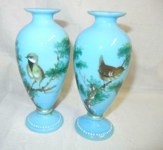 "(2) Small Antique 5 3/4 "" French Blue Opaline Vases Hand Painted Birds"