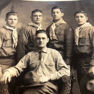 Rare - 1920s - Bsa - Boy Scouts - Photo - Scoutmaster W/ Scouts - Vintage