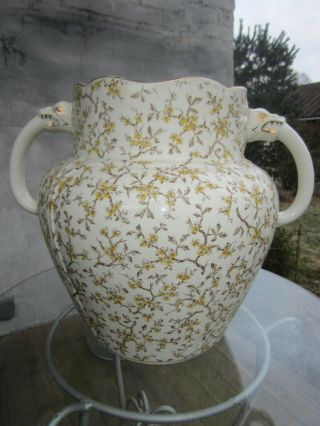 Antique Victorian Chamber Pot With Two Dragon Handles No Lid - Planter