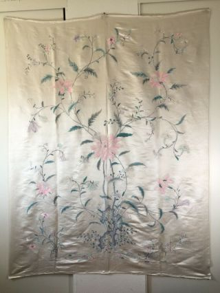 """Large Antique Vintage Chinese Fine Silk Embroidery Flower Plant (75"""" X 59"""" In. )"""