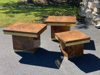 Set Of Three Faux Burl Wood Mid Century Modern Brass Tables