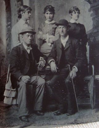 Tintype Photo Of 2 Handsome Dapper Young Men Posing With 3 Lovely Young Women