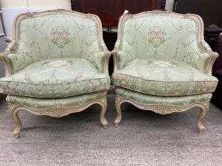 Baker Furniture French Louis Xv Style Bergere Chairs