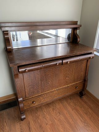 1890's Antique Rockford National Tiger Oak Buffet/sideboard With Mirror