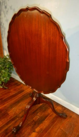Antique Mahogany Pie Crust Tilt Top Tea Table Carved Knee With Ball & Claw Foot