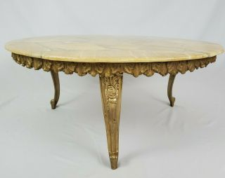Vintage Italian French Louis Xvi Marble Top Coffee Table With Gilt Gesso Apron