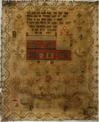 Early 19th Century Red House,  Motif & Verse Sampler By Mary Sutcliffe - 182