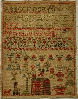 Small Early 19th Century Red House,  Man & Motif Sampler By Sarah Bentley - 1835