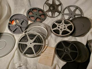 7pc Vtg Set Man Cave Theater Room Film Reel Wall Decor Steel Case Excl