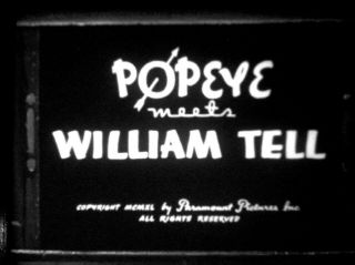"""16mm Animated Cartoon """" Popeye Meets William Tell """" Great A.  A.  P.  Print"""