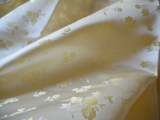 Vintage Small Scale Yellow Floral Silk Brocade Jacquard Fabric Dolls Home Etc