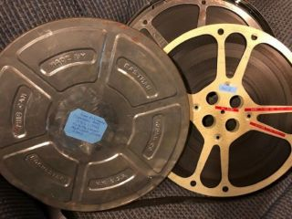 16mm Film - Bw Cartoons And Shorts With Sound On 2 Large 1600ft Metal Reels