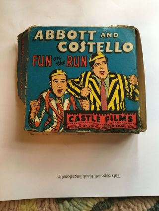 Castle Films Abbott & Costello Fun On The Run 16 Mm 811