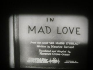 """16mm Feature 1935 Peter Lorre """" Mad Love """" Vg Print"""
