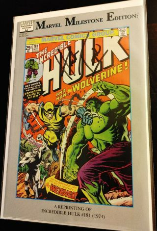 The Incredible Hulk 181 Signed By Herb Trimpe (marvel Milestone Edition Mar 91)