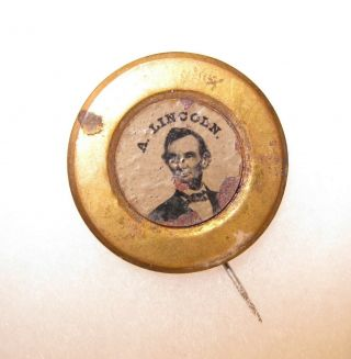 1864 Abraham Lincoln Ferrotype - Political Campaign Locking Pin.