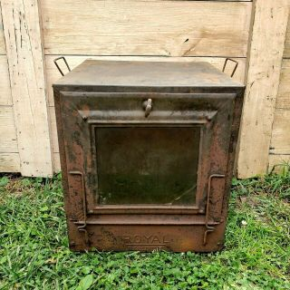 Antique Vintage Primitive Royal Glass Door Camp Oven Stove Rustic Army Military