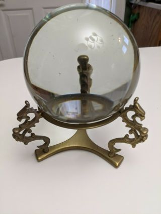 Antique - Vintage Murano Crystal Ball With Metal Dragon Brass Stand Large
