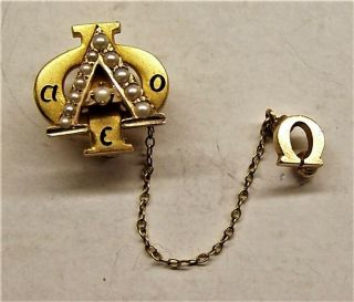 Alpha Phi 10k Gold Pin - Back Badge,  Chain,  And Omega With Seed Pearls