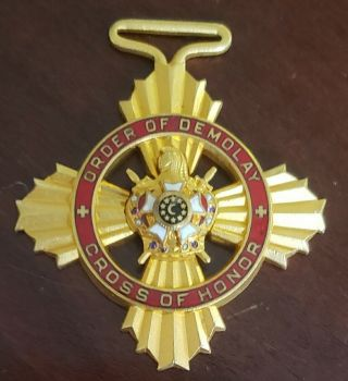 Vintage Masonic Order Of Honor Demolay Pin Fob Medal Gold Filled 2 ""