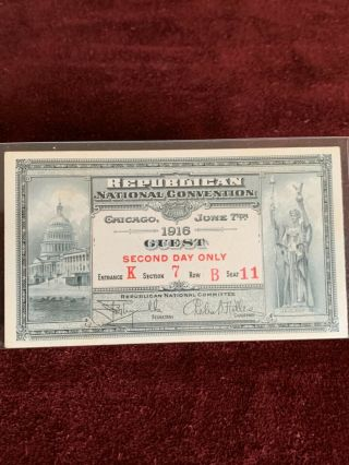 1916 Republican National Convention Chicago Guest Ticket Second Day