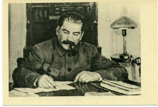 1939 Stalin Smoking Pipe By D.  Nalbandyan Study Desk Russian Unposted Postcard