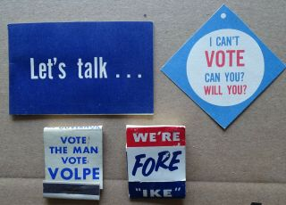 1960 Political Items Volpe Matches,  Whittier/ike Golf Tees,  Student Vote Tag Etc