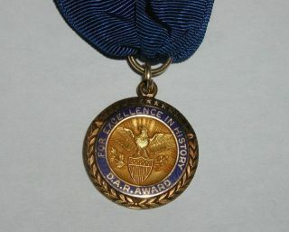 "D.  A.  R.  Award "" For Excellence In History "" Medal Sterling Silver & Gold Filled"
