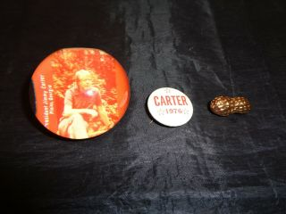 Vintage President Jimmy Carter Acrylic Paperweight Button & Peanut Pin