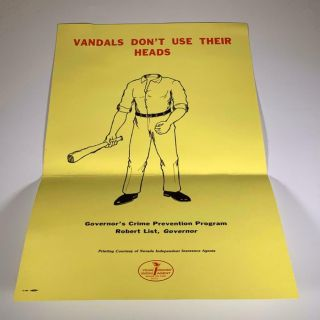 1980 Nevada Crime Prevention Poster Vandals Don