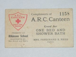A.  R.  C.  Canteen American Red Cross Bed And Shower Bath Card Atkinson School